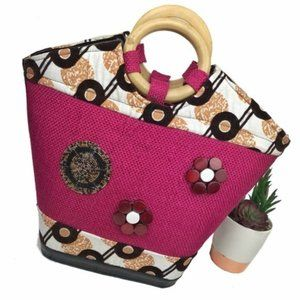 Beautiful Pink and Tan Exotic Satchel with Beading